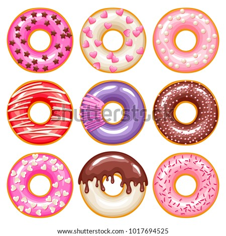 Valentine's day colorful glazed donuts with sprinkles icons set. Sweet bakery vector.
