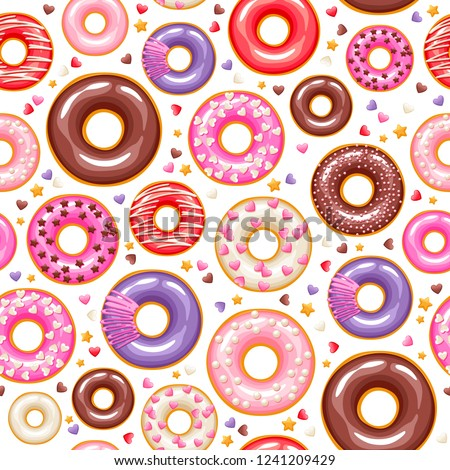 Valentine's day colorful glazed donuts with sprinkles seamless pattern. Sweet bakery vector background.