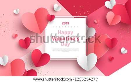 Valentine's day concept background. Vector illustration. 3d red and pink paper hearts with white square frame. Cute love sale banner or greeting card #1255234279
