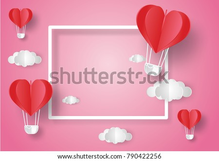 Valentine's day concept.Balloon  in a heart shape floating with text in white border on blue sky background.Vector illustration.Paper and craft art #790422256