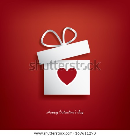 Valentine\'S Day Concept Illustration With Gift Box And Heart Symbol Sutiable For Advertising And Promotion. Eps10 Vector Illustration