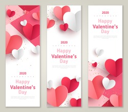 Valentine's day concept, vertical banners set. Vector illustration. 3d red and pink paper hearts frame. Cute love sale banner or greeting card