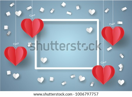 Valentine's day concept. White ribbon paper and scatter heart in the sky.Heart origami mobile. Vector illustration.Paper and craft art #1006797757