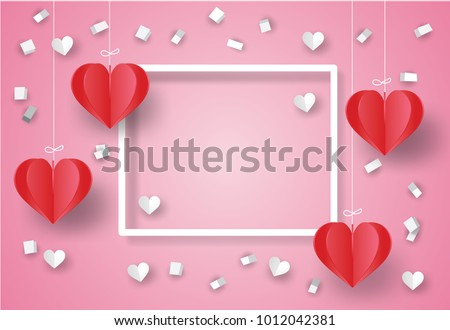 Valentine's day concept. White ribbon paper and scatter heart in the sky.Heart origami mobile. Vector illustration.Paper and craft art #1012042381