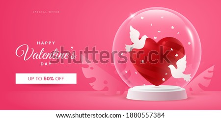 Valentine's day creative banner concept in pink colours. Composition with red heart and two doves in a glass ball. Symbol of love. Realistic 3d style. Ideal for invitation, postcard, greeting card.