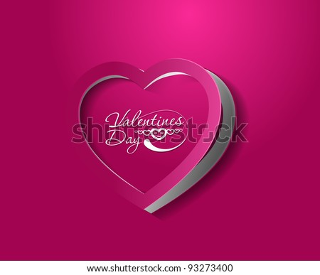 valentine's day curl paper heart, vector illustration.