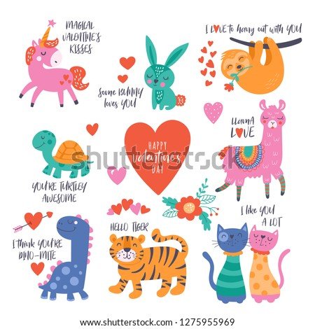 Valentine's day cute animals set with llama, sloth, unicorn, cats, dinosaur, bunny, tiger and turtle. Childish print for cards, stickers, apparel and nursery decoration