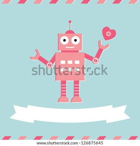 valentine's day cute robot card