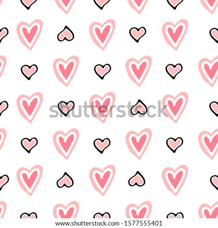 Valentine's day cute seamless pattern with hearts. White background. design for holiday greeting card and invitation of baby shower, birthday, wedding, Happy Valentine s day, and mother s day.