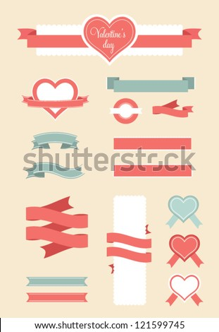 Valentine`s Day design elements. Vector illustration. - stock vector