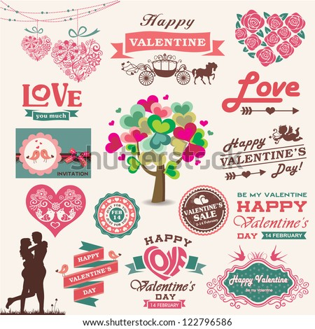 valentine's day design  labels