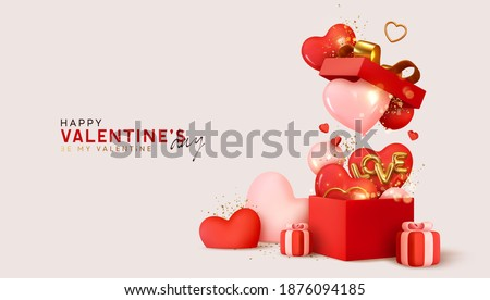 Valentine's day design. Realistic red gifts boxes. Open gift box full of decorative festive object. Holiday banner, web poster, flyer, stylish brochure, greeting card, cover. Romantic background Stockfoto ©