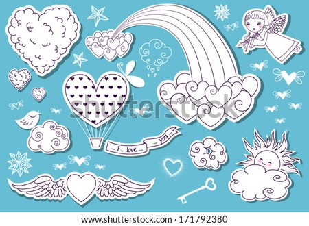 Valentine's Day Doodle Sky Whimsical set of Valentine's Day clouds rainbow cherub stars and a lot of flying hearts two heart patterns included in vector EPS file