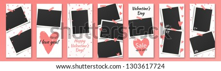 Valentine's Day Editable Social Network Stories Template Set with Photo Frames and Grunge Hearts, Color Stickers for Sale, Flyers, Banners with text: I love you, U & Me, Sale, Happy Valentine's Day.