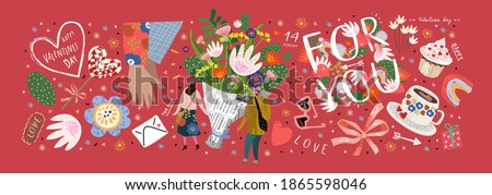 "Valentine's Day! February 14. Vector cute illustrations of a man and a woman in love, a bouquet of flowers, a shop, a background with objects and ""for you"". Drawings for postcard and banner"