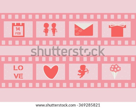valentine's day film strip with