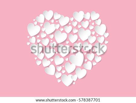 Valentine's Day flat lay with white vector paper hearts on pink background. Love concept.