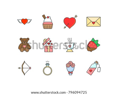 Valentine's Day flat line colored icons set with heart with wings, cupcake, love letter, teddy bear, gift box, cup, strawberry, bow, arrow, diamond ring.