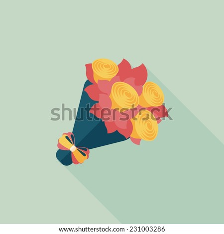Valentine\'s Day flower flat icon with long shadow,eps10