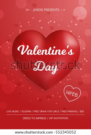 Stock Photo Valentine's Day Flyer. 3d red hearts on red  background. Cute love banner or greeting card.