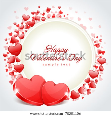 Valentine's day frame vector background with two hearts