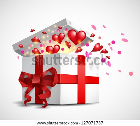 Valentine`s Day gift box - vector illustration.