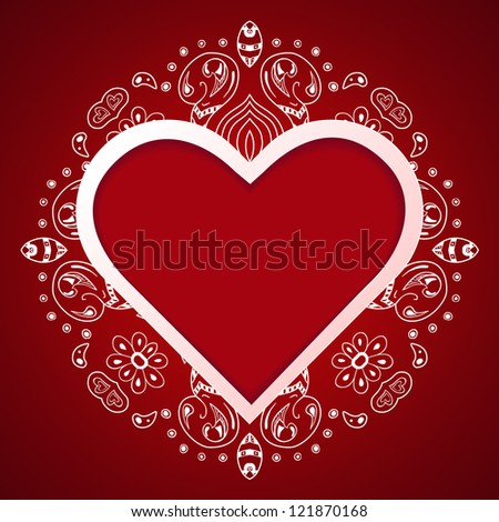 Valentine's Day gift card with floral ornaments on red background. Happy Valentine's Day.