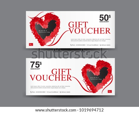 Valentineu0027s Day Gift Voucher Template Layout, Business Flyer Design,  Certificate, Coupon, Ticket  Coupon Voucher Template