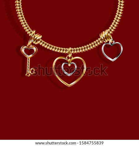 Valentine's Day. Gold bracelet with three charms Charm in the shape of a Key, a heart of white and yellow gold. 3D with shadow. Vector illustration