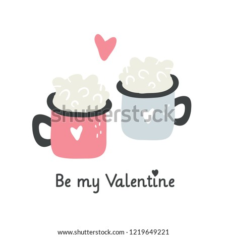 Valentine's day greeting card design with couple of cups isolated on white. Trendy vector illustration in scandinavian style