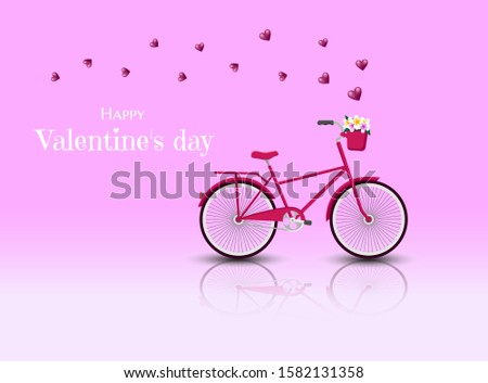 Valentine's day greeting card. Red Bicycle with hearts for Valentine's day vector