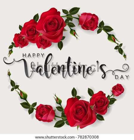 Valentine's day greeting card templates with realistic of beautiful rose and heart on background color. Vector Eps.10