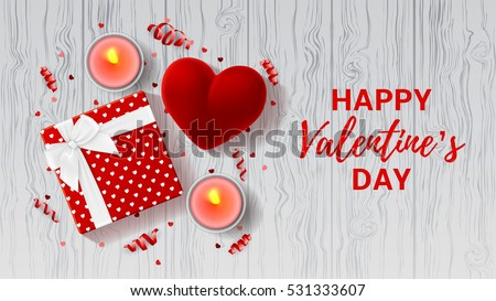 valentines day greeting card top view on romantic composition with gift box and red case