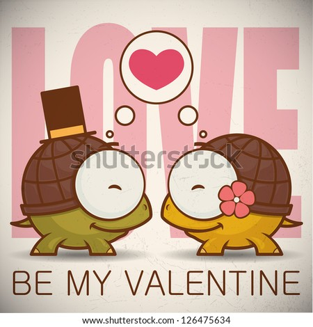 Valentine�´s day greeting card with cartoon turtle characters.