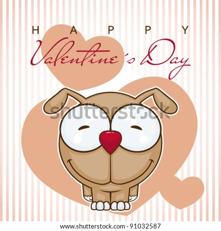 Valentine´s day greeting card with funny cartoon dog.