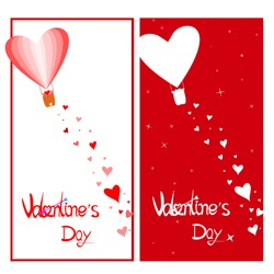 Valentine's day greeting cards.  Heart shaped balloon floating in the sky With many heart-shaped papers falling down.