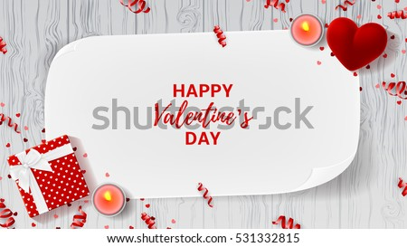 Valentine's Day greeting web banner. Top view on romantic composition with gift box and red case for ring. Beautiful backdrop with greeting card and candles on wooden texture. Vector illustration.