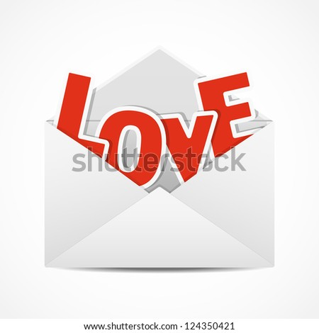 Valentine's Day Greetings. Valentine in the open envelope. Vector illustration.