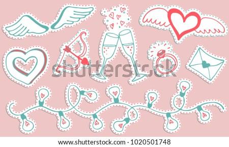 Valentine Sticker Set - Download Free Vector Art, Stock Graphics ...
