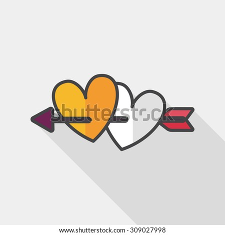 Shutterstock valentine's day heart bow and arrow flat icon with long shadow,eps10