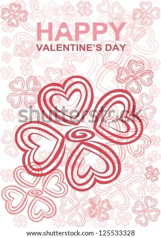 Valentine's day: Heart formed as flowers in the soft tone color for Valentine's day