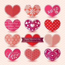 Valentine's day Heart symbol Elements pattern Vector