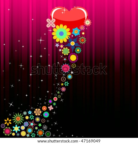 Valentine's Day, Hearts and Flowers Vector Illustrations.
