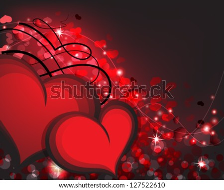 Valentine's Day hearts on a sparkling  background