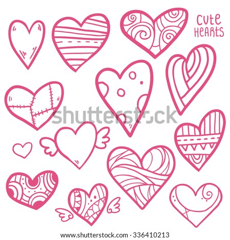 Valentine S Day Hearts Set Collection Hearts Icons Hand Drawn