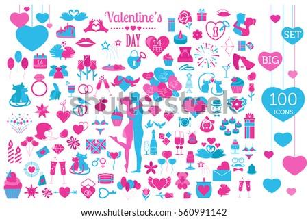 Valentine`s day icon set. Romantic design elements isolated on white. Vector illustration #560991142