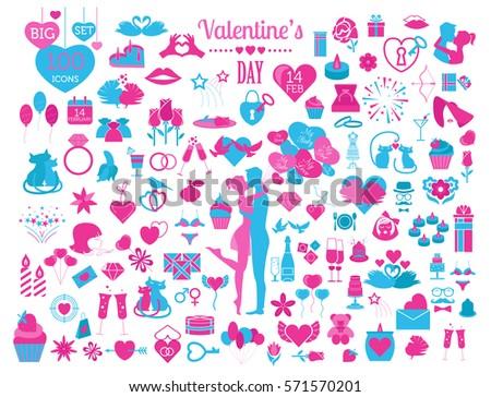 Valentine`s day icon set. Romantic design elements isolated on white. Vector illustration #571570201