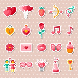 Valentine's day icons elements collection. Vector illustration. Love concept stickers.