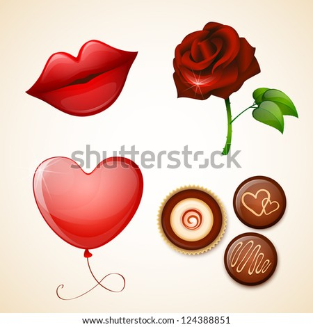 valentine s day icons set