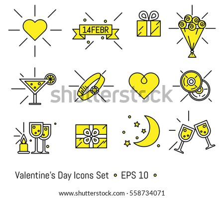 valentine's day icons set in